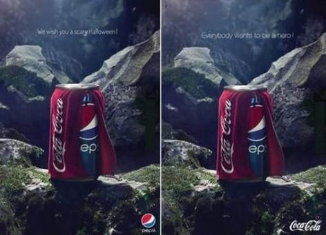 A gauche, la pub initiale de Pepsi. A droite, la réponse de Coca-Cola