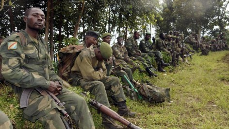Des soldats de l'armée de la République démocratique du Congo près de Bunagana, ex-fief des rebelles du M23