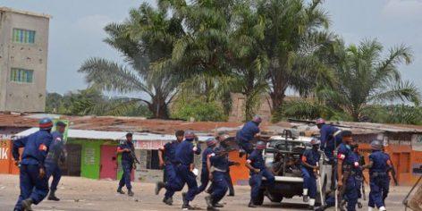 Des policiers congolais déployés lors d'une manifestation anti-gouvernementale à Kinshasa en janvier 2015 (photo d'illustration).