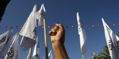Un membre du parti islamiste Hizb Ettahrir lors d'un rassemblement à Sidi Bouzid en décembre 2013.