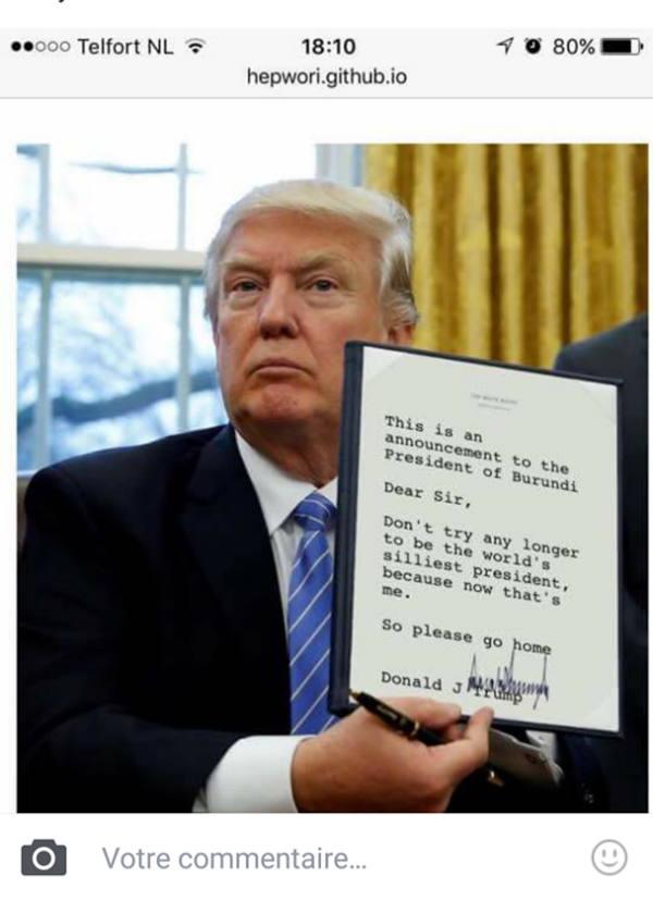Capture d'écran d'un compte Facebook relayant le photomontage prêtant à Donald Trump un message à Pierre Nkurunziza.