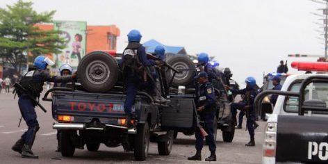 Déploiement de policiers à Kinshasa en RD Congo le 20 septembre 2016.