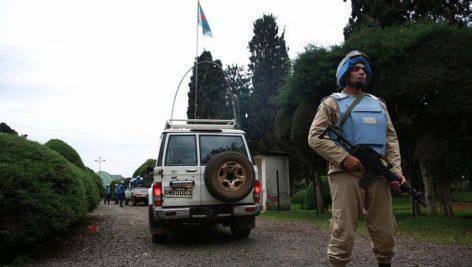 Un casque bleu égyptien assurant la sécurité des populations dans la ville de Bukavu, au Sud-Kivu le 26 novembre 2014.