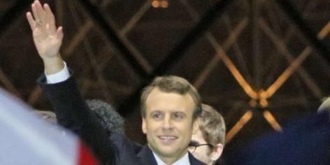 Le nouveau président Emmanuel Macron, le soir de sa victoire, le 7 mai 2017 à Paris. © Ryuzo Suzuki/AP/SIPA
