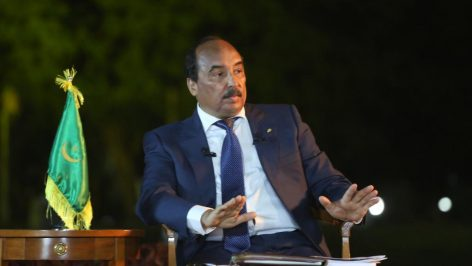 Mohamed Ould Abdel Aziz, le président mauritanien, lors d'une conférence de presse en mars 2015. © AFP PHOTO / WATT ABELJELIL