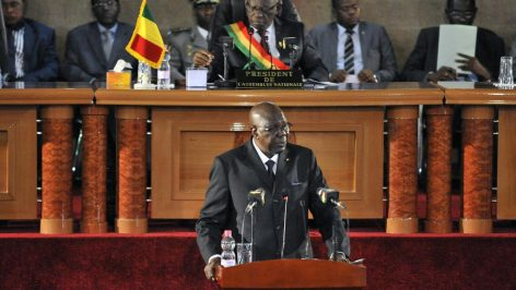 Le Premier ministre malien, Modibo Keita, lors d'une allocution devant le Parlement, le 8 juin 2015. (Photo d'illustration) © AFP PHOTO / HABIBOU KOUYATE