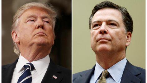 Donald Trump (g.) et l'ancien directeur du FBI, James Comey.