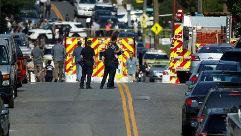 Un périmètre de sécurité a rapidement été mis en place autour des lieux de la fusillade, à Alexandria, près de Washington, le 14 juin 2017.