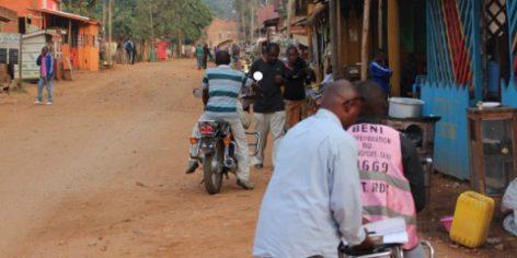 Une rue du centre-ville de Beni, dans l'est de la RDC, le 17 février 2017.